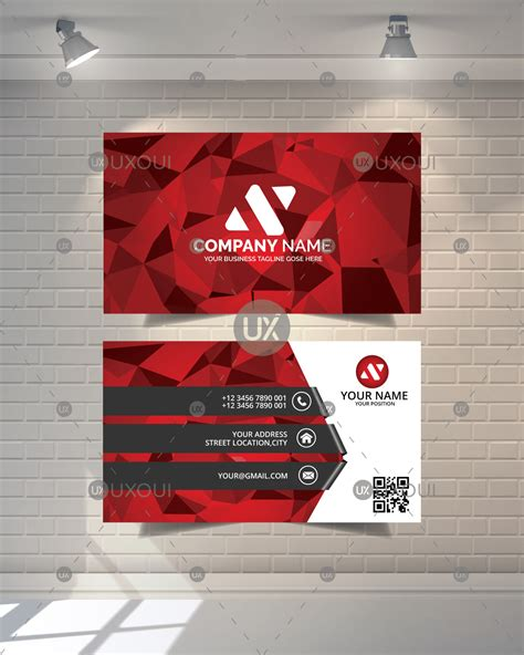 Business Card Design Template With Red Polygon Background Vector Uxoui Card Background Templates 2