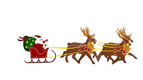 santa claus with reindeer animation and giving gift