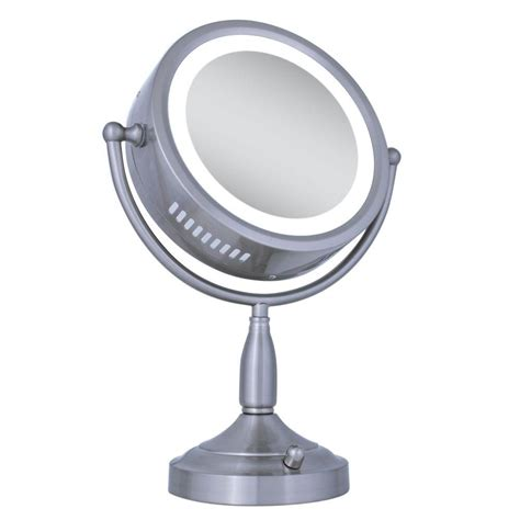 zadro lighted makeup mirror zadro lighted 8x 1x round vanity mirror in satin nickel