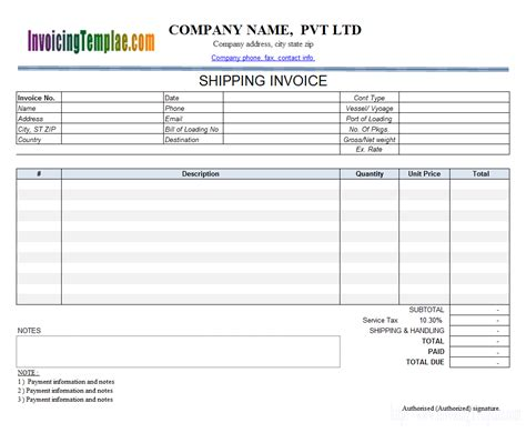 delivery invoice template transportation invoice
