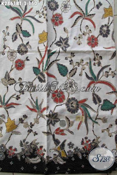 Gamis Motif Wanita Putih kain batik motif bunga warna dasar putih cocok untuk bahan