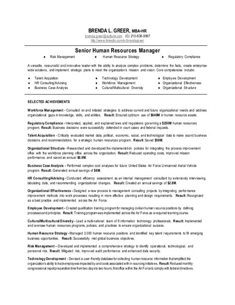 human resources manager resume sle human resources