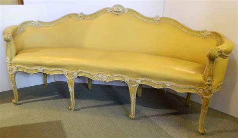 Leather Paint Sofa by Antique Italian Painted Leather Sofa For Sale At 1stdibs