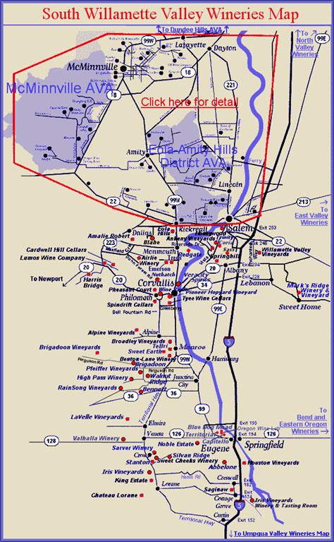 map of oregon vineyards map list of southern willamette valley wineries with