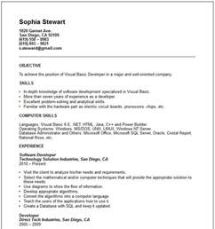 Resume Sample Basic by Visual Basic Developer Resume Example Free Templates