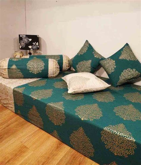 Bed Cover Bantal Set 1115 heritage blue ethnic cotton diwan set single bed sheet w 3 cushion covers 2 bolster covers