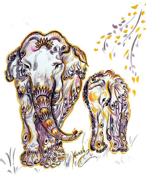 baby elephant original water color painting