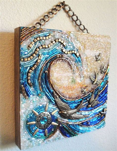 beaded wall hanging sunswept beaded mosaic wall hanging