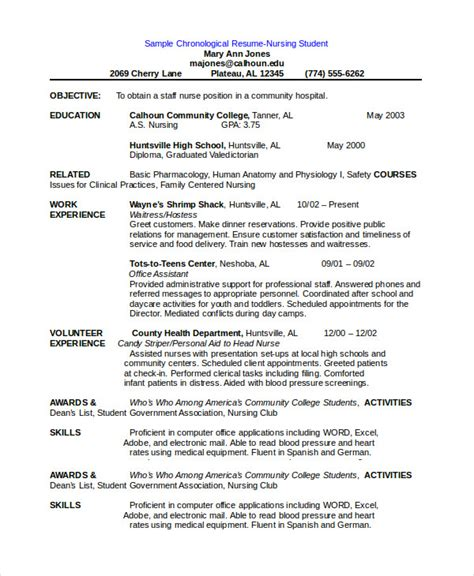 Resume Format For Nursing Students by Chronological Resume Template 28 Free Word Pdf