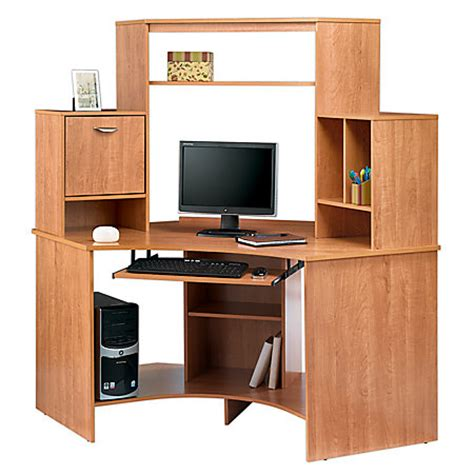 Realspace Magellan Corner Desk Realspace Magellan Collection Corner Workstation 63 12 H X 66 W X 31 12 D Honey Maple By Office