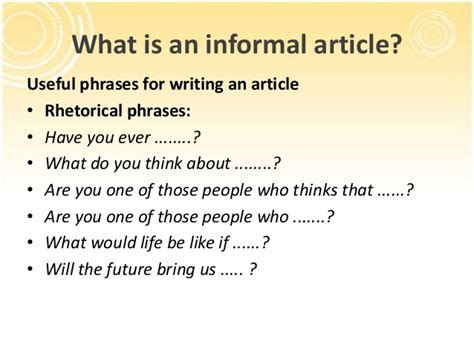 Useful Phrases For Informal how to write an informal article