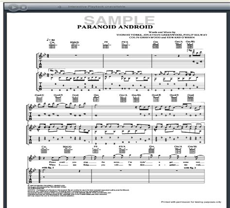paranoid android tab guitarforge free guitar songbook tab guitar sheet invitations ideas