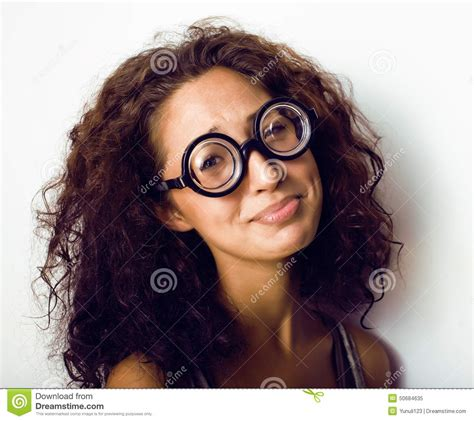 bookworm hairstyles bookworm cute young woman in glasses curly hair stock