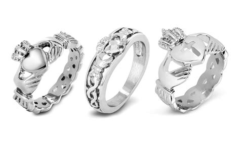 claddagh ring in stainless steel or sterling silver groupon