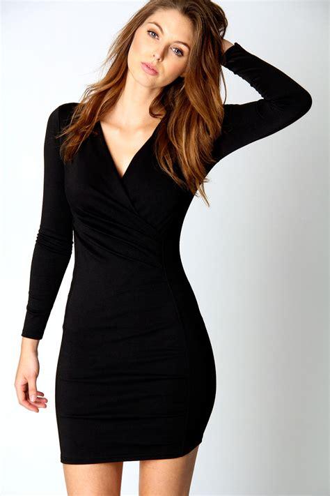 V Neck Wrap Dress boohoo megan v neck sleeve wrap dress in black