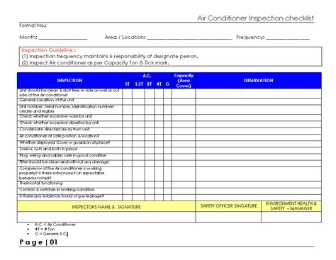air checklist template ac service air conditioning installation air autos post