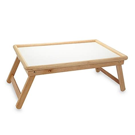 Folding Bed Tray Beechwood Folding Bed Tray With White Laminate Top Www Bedbathandbeyond Ca