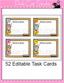 task card template editable editable task cards template owl theme by pink cat