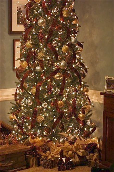 silver and gold with red ribbon o christmas tree pinterest