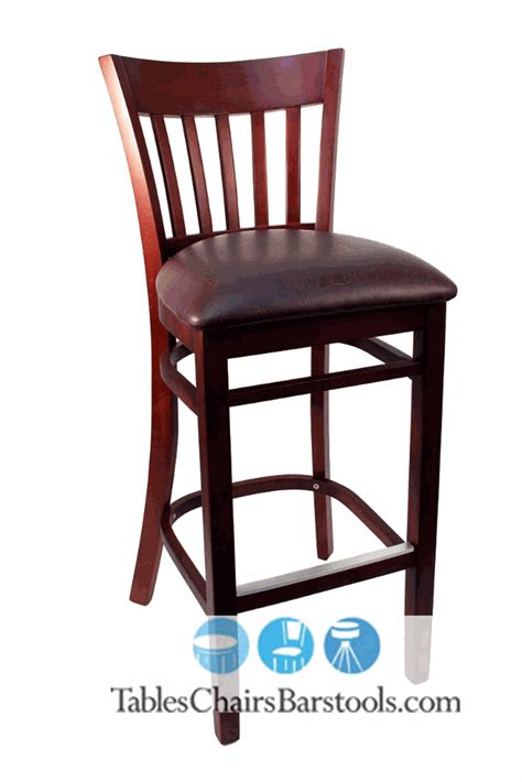 Oak Bar Stool With Back Gladiator Mahogany Vertical Back Wooden Bar Stool With Brown Vinyl Seat Bar Restaurant