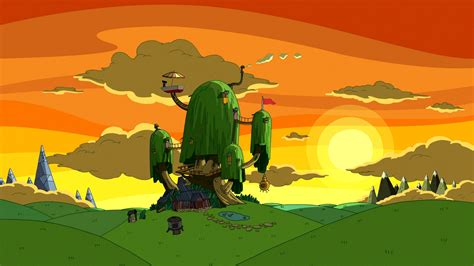wallpaper cartoon tree cartoon network sunset nature houses adventure time