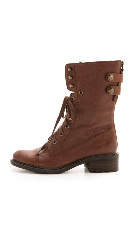 sam edelman darwin combat boots bridal brown in brown lyst