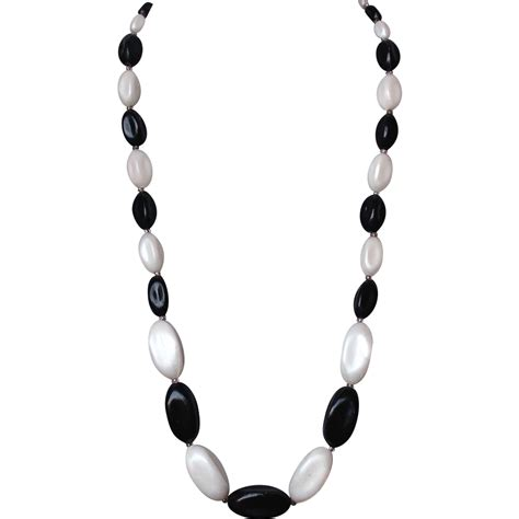 black and white bead necklace black and white bead necklace vintage jewelry from