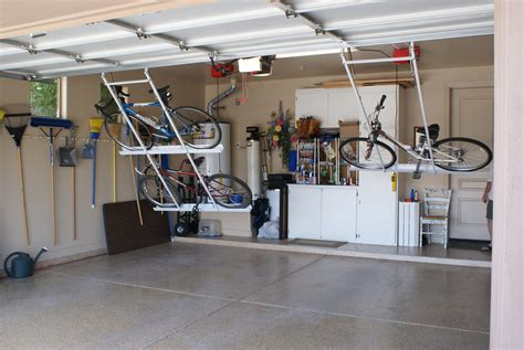garage organization company motorized bike lift folding the garage