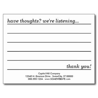Employee Suggestion Card Template by 27 Images Of Helpful Employee Comment Card Template