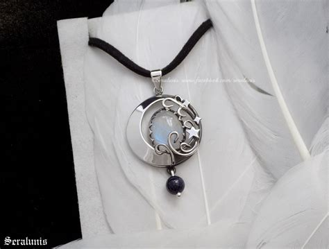 new moon handmade sterling silver pendant by seralune