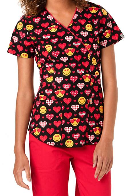 valentines scrubs code happy valentines day smiley world print scrub tops