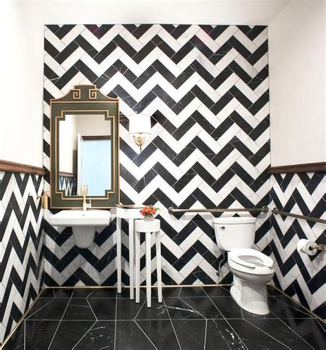 chevron bathroom ideas powder room with black and white chevron tiles