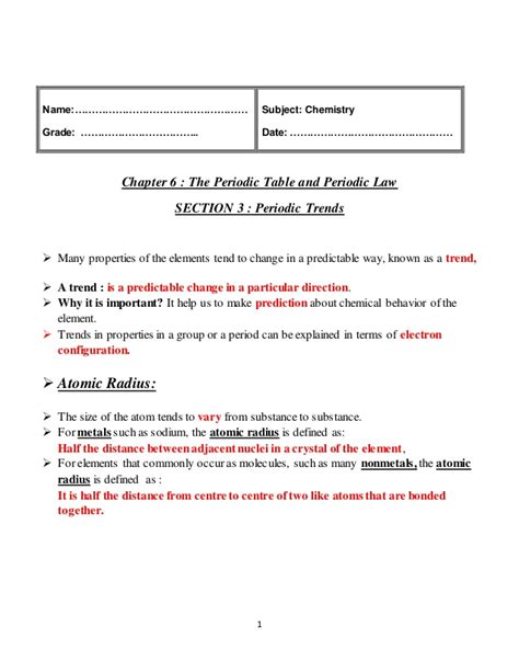 chapter 6 periodic trends practice worksheets