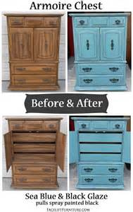 Distressed White Armoire Sea Blue Armoire Chest With Black Glaze Before Amp After