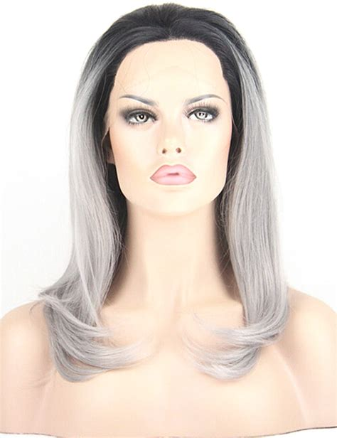Review Fiber Wig by Ombre Gray Wig Black Roots Heat Resistant Synthetic Lace