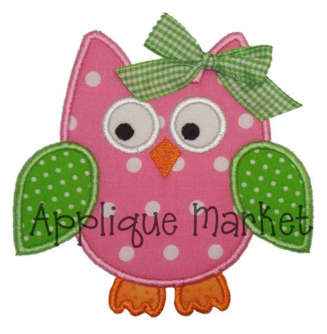embroidery applique design machine embroidery design applique owl 4 sizes instant