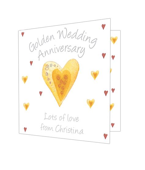 Anniversary Gift Cards - personalised golden anniversary card just for gifts