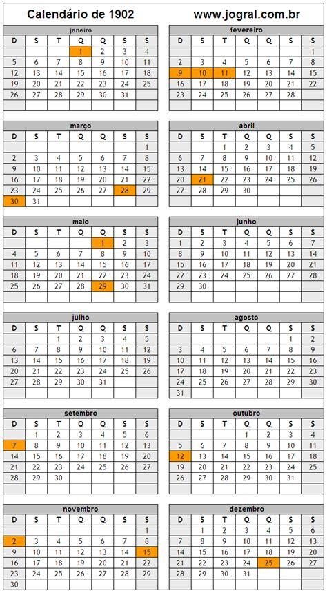 Calendario De 1901 Calend 225 Ano 1902 Para Imprimir Em Formato Pdf E Imagem