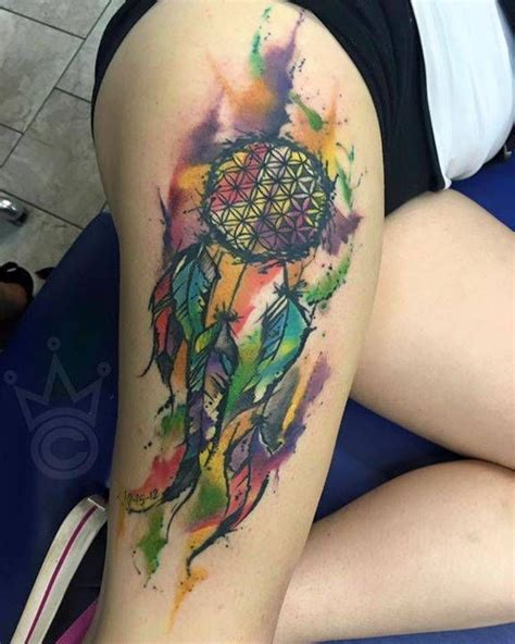 colorful dreamcatcher tattoos colorful dreamcatcher thigh www pixshark