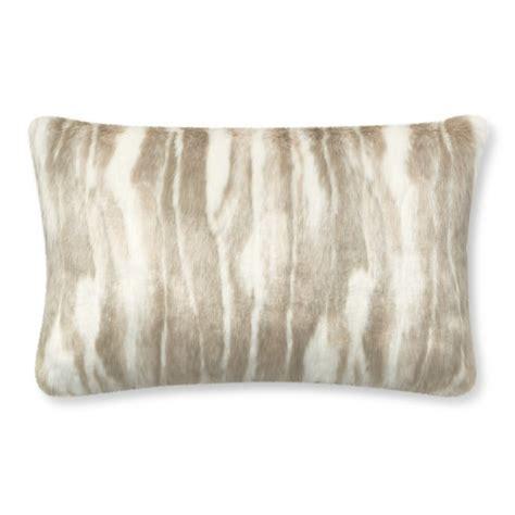 faux fur lumbar pillow faux fur lumbar pillow cover arctic fox williams sonoma
