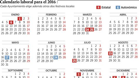 Calendario De Festivos Calendario Laboral 2016 Semana Santa Puentes Y D 237 As