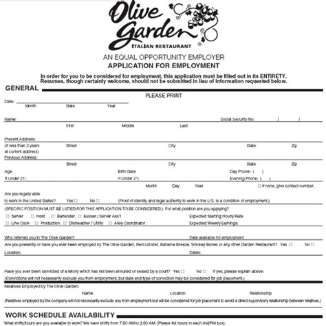 Olive Garden Application Online Print Out Job Hunter | olive garden application online print out printable