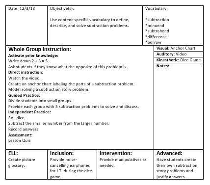 Differentiated Lesson Plan Examples Study Com