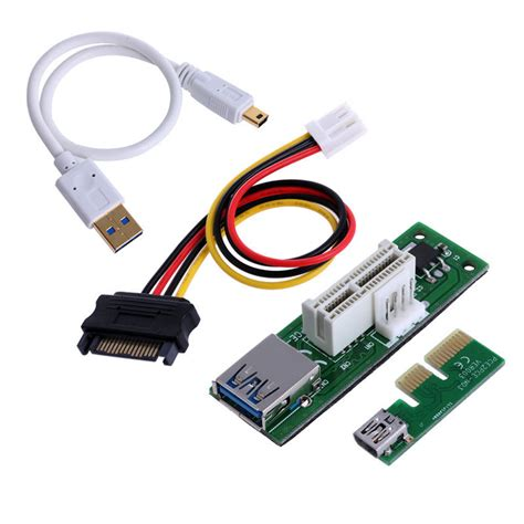 Pci E Pcie Pci Express Riser Card Usb 3 0 1x To 16x 6 Capasitor mini pci e pci express extension1x riser card usb 30cm extender cable 4pin power on aliexpress