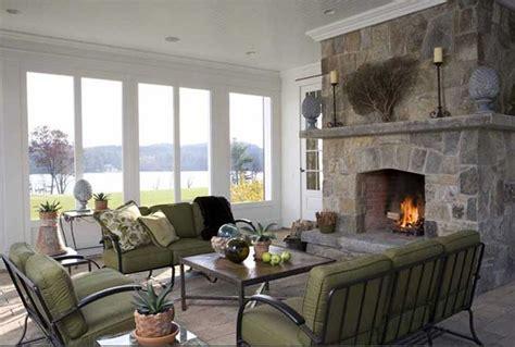 Sunroom Fireplace 3 Season Room Brooks Falotico Greek Revival Lakefront
