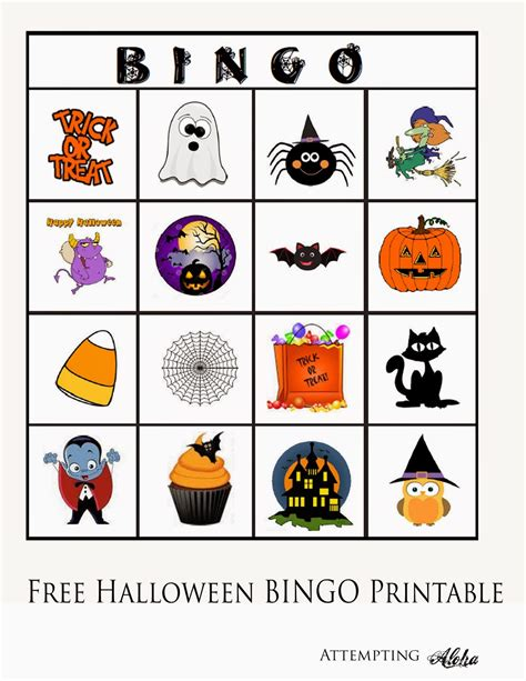 printable halloween bingo cards with pictures attempting aloha free halloween bingo printable for
