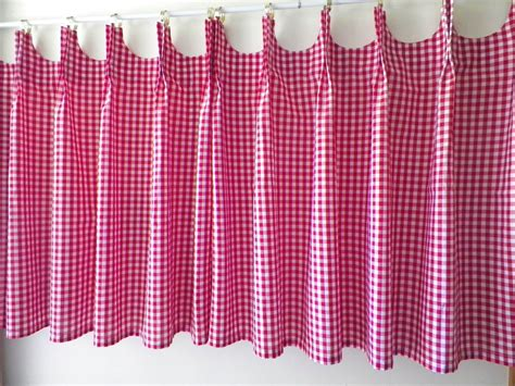 gingham curtains red scalloped cafe curtains red gingham