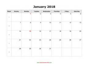 12 Month Calendar Template 2018 Blank Calendar 2018