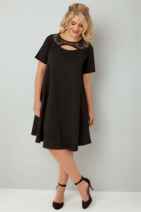 Cut Out Neckline Dress Black Size Sml black swing dress with cut out neckline lace panel plus size 16 to 36