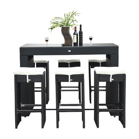 Bar Stool Dining Table Sets by Outsunny 7pc Rattan Wicker Bar Stool Dining Table Set Black